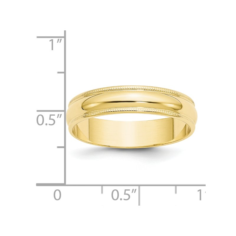 Quality Gold 10KY 5mm LTW Milgrain Half Round Band Size 10