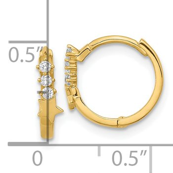 14k Madi K CZ Shooting Star Hinged Hoop Earrings