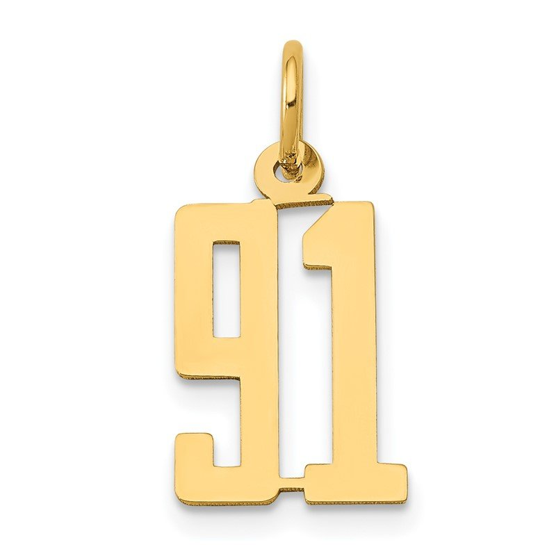 Quality Gold 14k Small Polished Elongated 91 Charm