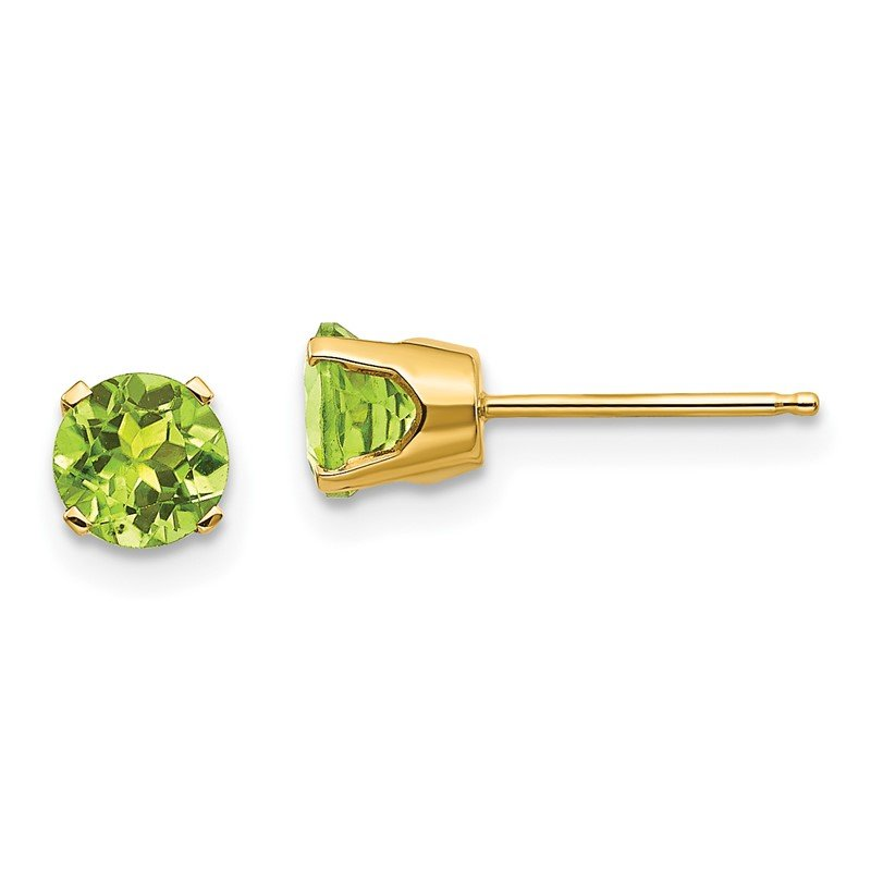 Quality Gold 14k 5mm Peridot Earrings - August
