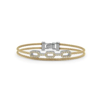 Yellow Cable Petite Layered Links Bracelet with 18kt White Gold & Diamonds