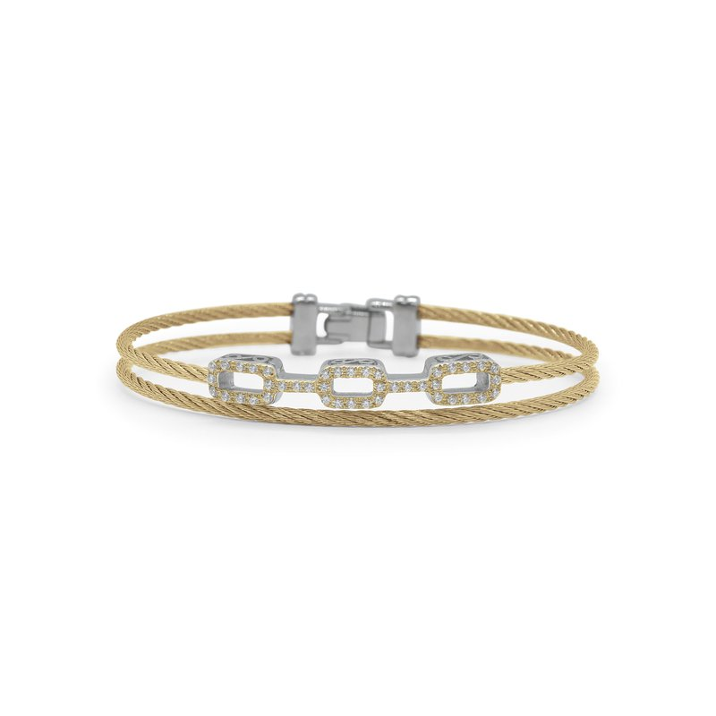 ALOR Yellow Cable Petite Layered Links Bracelet with 18kt White Gold & Diamonds