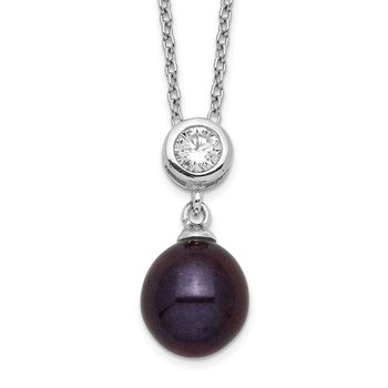 Sterling Silver Rhodium-plated 8-9mm Black Rice FWC Pearl CZ Necklace