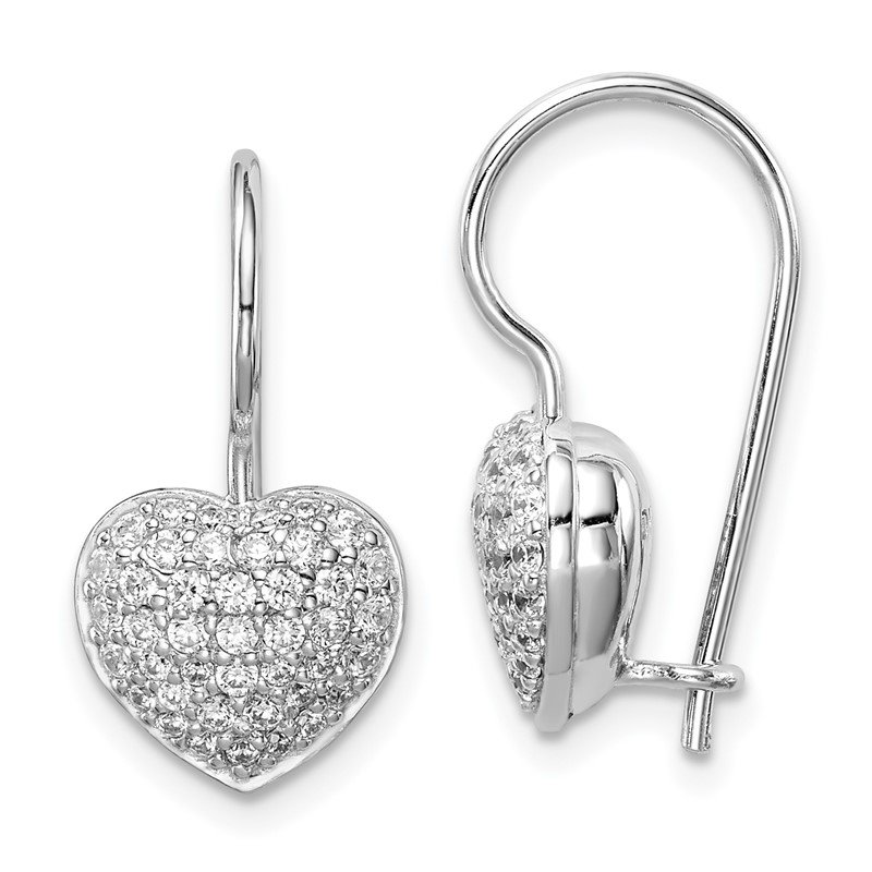 Quality Gold Sterling Silver Rhodium Plated CZ Heart Dangle Earrings