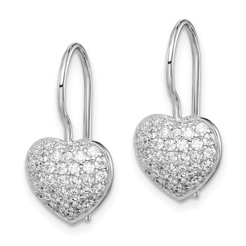 Sterling Silver Rhodium Plated CZ Heart Dangle Earrings