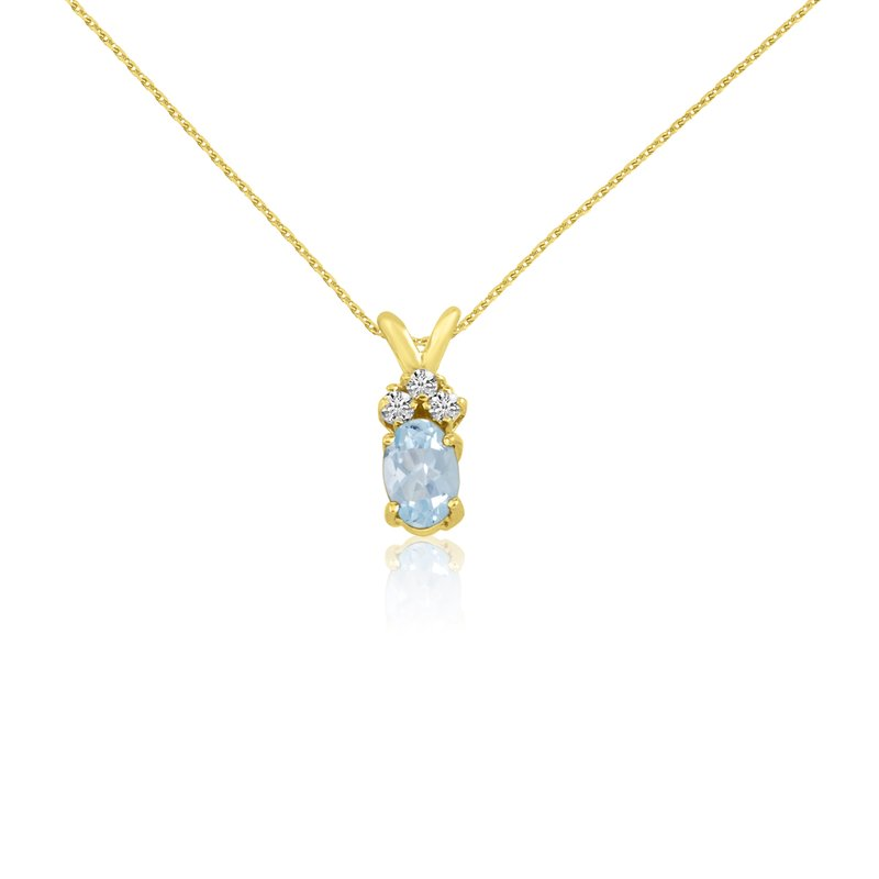Color Merchants 14k Yellow Oval Aquamarine and Diamond Pendant