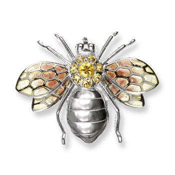 Yellow Bee Brooch.Sterling Silver-Yellow Sapphires - Plique-a-Jour