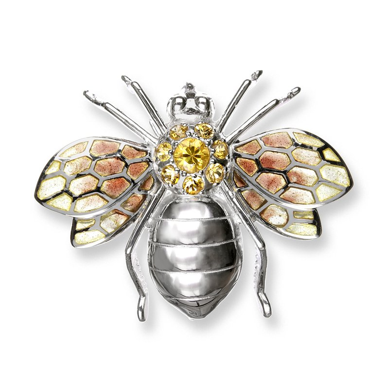 Nicole Barr Designs Yellow Bee Brooch.Sterling Silver-Yellow Sapphires - Plique-a-Jour