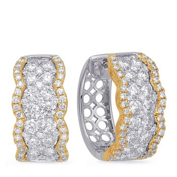 Yellow & White Gold Diamond Earring