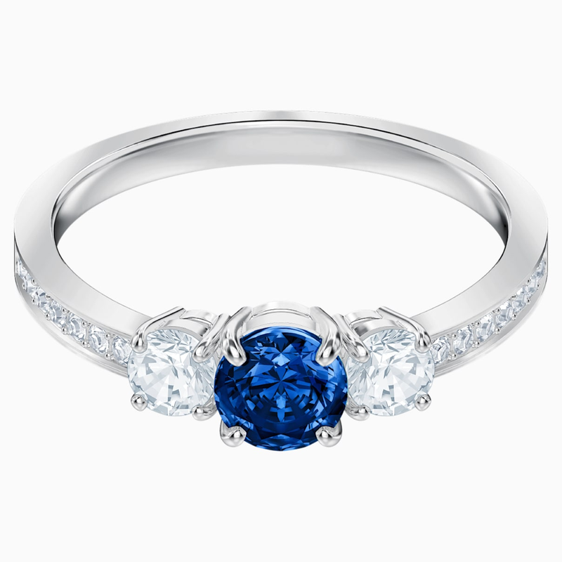 Swarovski Attract Trilogy Round Ring, Blue, Rhodium plated