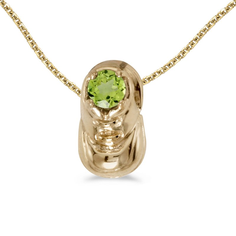 Color Merchants 10k Yellow Gold Round Peridot Baby Bootie Pendant