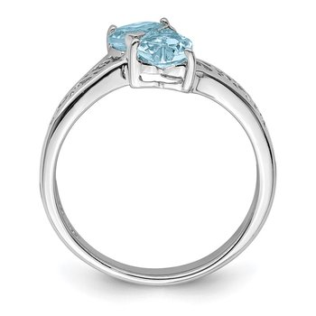 Sterling Silver Rhodium Aqua Heart Ring