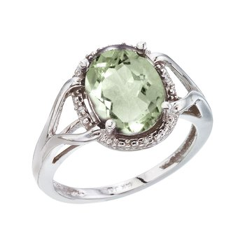 14K White Gold 10x8 Oval Green Amethyst and Diamond Rope Ring