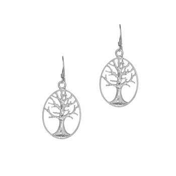 Silver Oval Tree of Life Earring