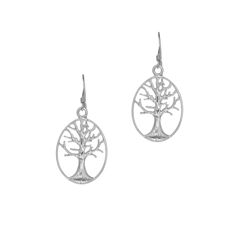 Royal Chain Silver Oval Tree of Life Earring