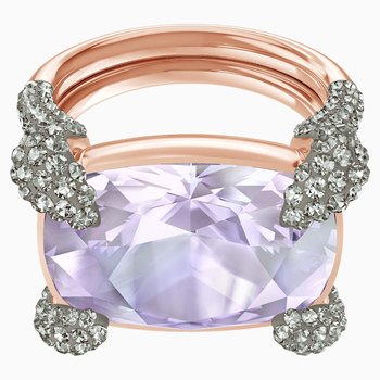 Make Cocktail Ring, Violet, Rose-gold tone plated