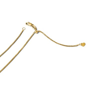 Leslie's 14k Adjustable 1.2mm Diamond-cut Wheat Chain