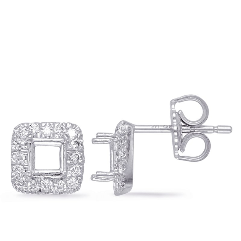S. Kashi  & Sons White Gold Diamond Earring for 4mm cente