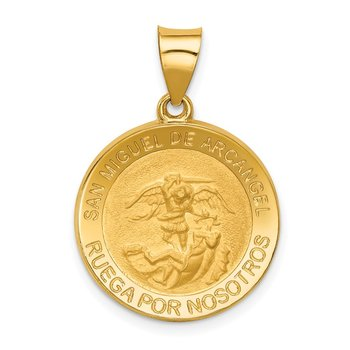 14k Hollow Polished/Satin Round Spanish San Miguel Medal