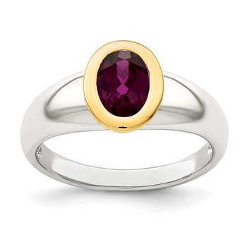 Sterling Silver w/ 14K Accent Rhodolite Garnet Oval Ring
