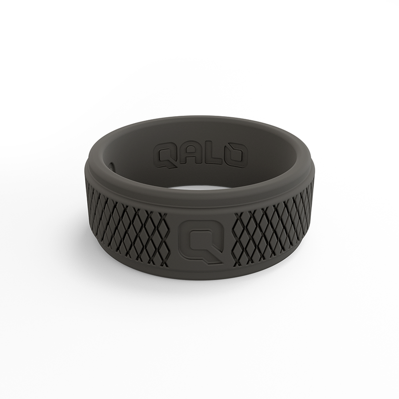 Qalo Men's Crosshatch DarkGrey Silicone Ring