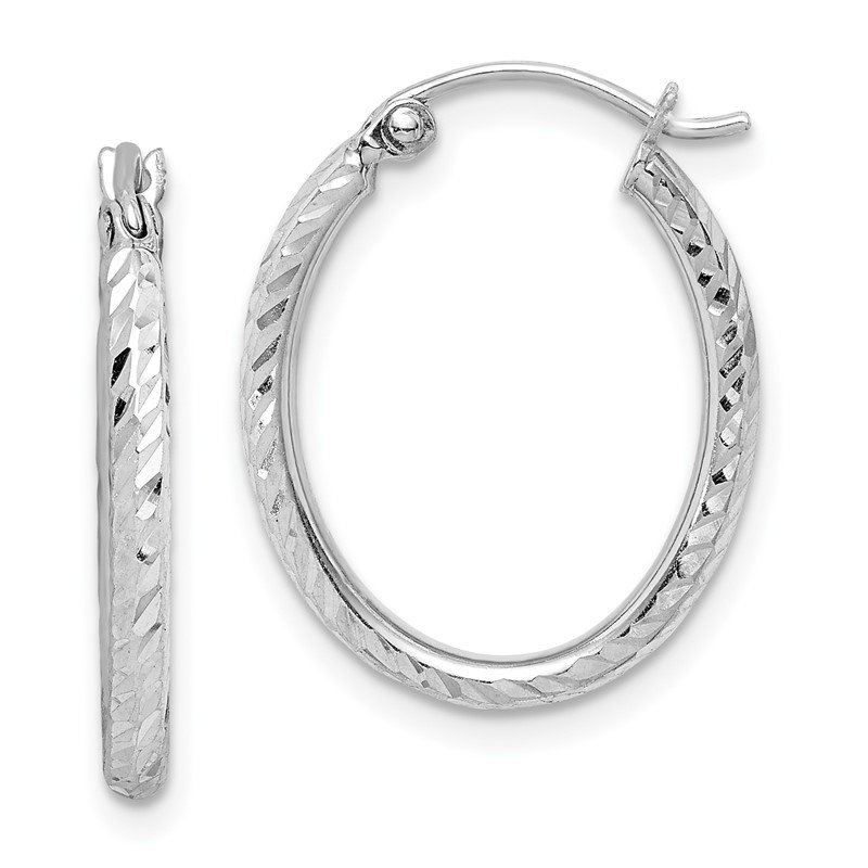 Quality Gold Sterling Silver Rhodium Plated Diamond Cut Oval Hoop Earrings