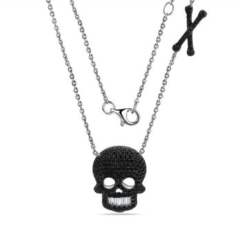 "Beautiful 14K skull Necklace with 208 black Diamonds 0.98C 18"" chain"