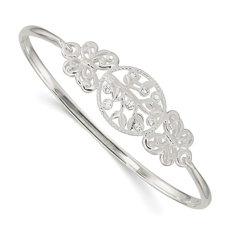 Quality Gold Sterling Silver Butterfly and CZ Tree Slip-On Bangle
