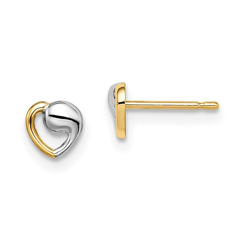 Quality Gold 14k Madi K & White Rhodium Heart Post Earrings