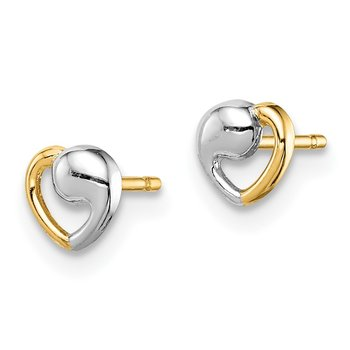 14k Madi K & White Rhodium Heart Post Earrings