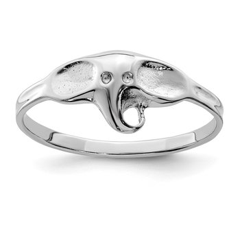 Sterling Silver Rhodium-plated Polished Elephant Ring