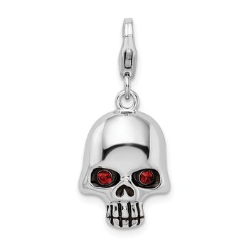 Sterling Silver Polished Red CZ Skull with Lobster Clasp Charm