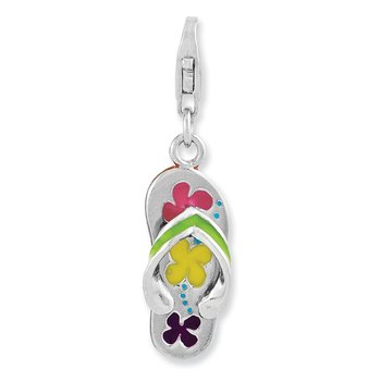 Sterling Silver Rhodium-plated 3-D Enameled Flip-flop w/Lobster Clasp Charm