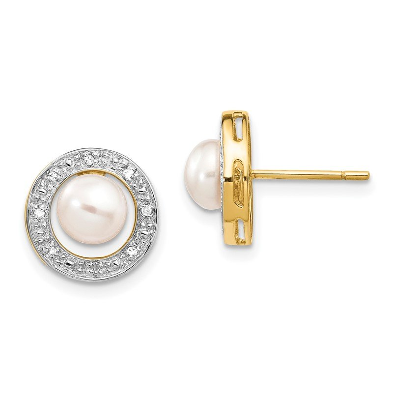 Quality Gold 14k and Rhodium 5-6mm Button FWC Pearl .05ct Diamond Post Earrings