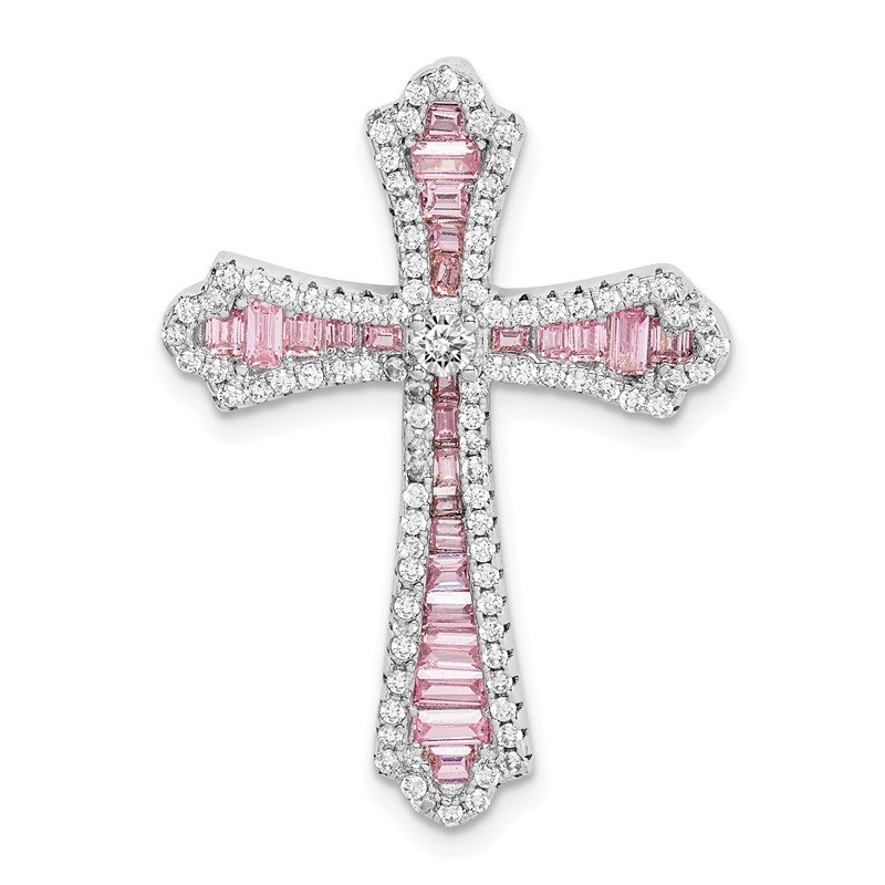 Quality Gold Sterling Silver Rhodium-plated Pink & White CZ Cross Slide Pendant