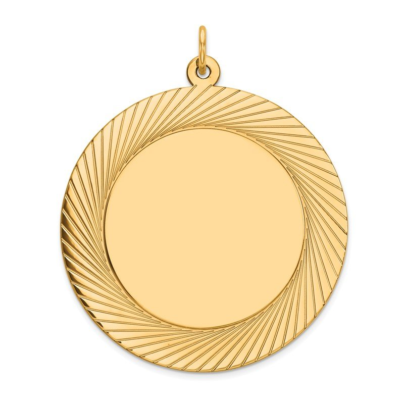 Quality Gold 14k Etched Design .035 Gauge Circular Engravable Disc Charm
