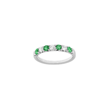 Alternating Diamond & Emerald Band