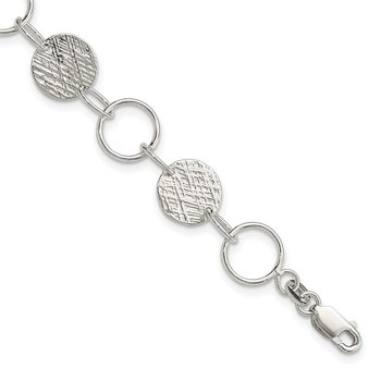 Sterling Silver Fancy Circle Bracelet