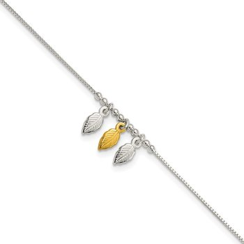 Sterling Silver Gold-tone Polished Feather 9in w/1in ext Anklet