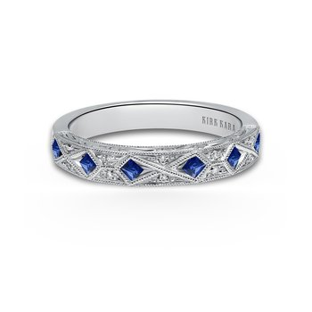 Kirk Kara 18K White Gold Diamond Natural Blue Sapphire Vintage Band