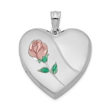 Sterling Silver Rhodium-plated 24mm Satin Enameled & D/C Rose Locket
