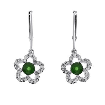 14k White Gold Emerald and Diamond Flower Leverback Earrings