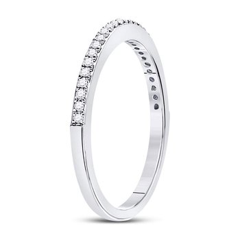 10kt White Gold Womens Round Diamond Single Row Stackable Band Ring 1/8 Cttw