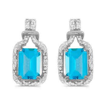 10k White Gold Emerald-cut Blue Topaz And Diamond Earrings