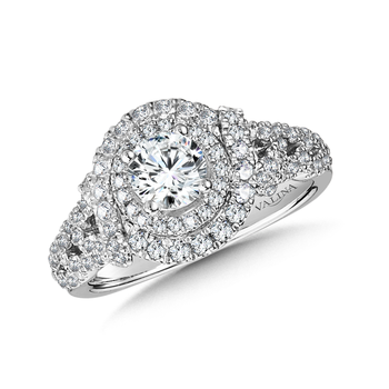 Halo Engagement Ring Mounting in 14K White Gold (.72 ct. tw.)