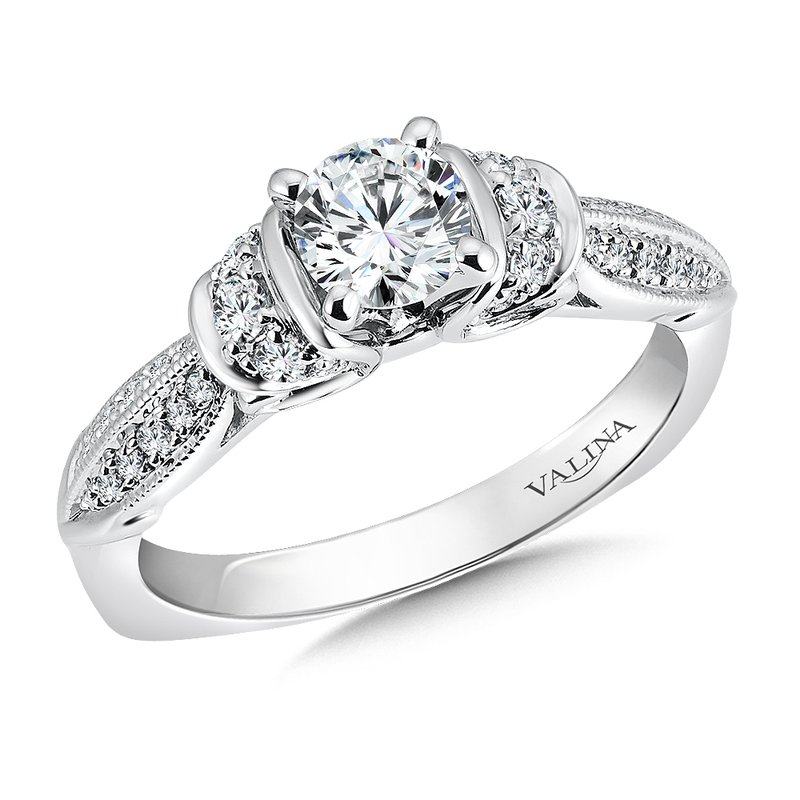 Valina Bridals Mounting with side stones .22 ct. tw., 5/8 ct. round center.