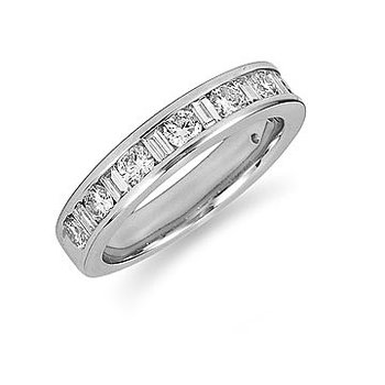 14K WG and Diamond Rounds and Baguettes Ring. 0.70 cts