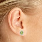Color Merchants 10k White Gold Oval Peridot And Diamond Earrings