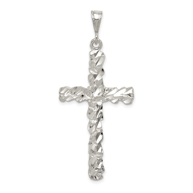 Quality Gold Sterling Silver Diamond -Cut Cross Pendant