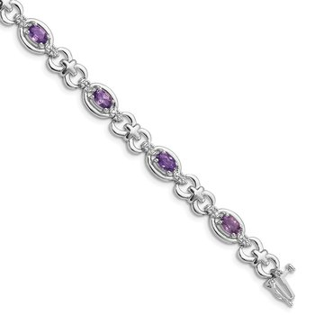 Sterling Silver Rhodium-plated Diamond & Amethyst Bracelet